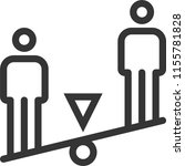 seesaw stick figures  bold line ... | Shutterstock .eps vector #1155781828