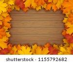 frame from fallen maple leaves...   Shutterstock .eps vector #1155792682