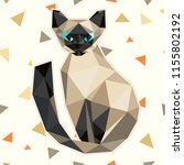 low poly cat in polygonal style.... | Shutterstock . vector #1155802192
