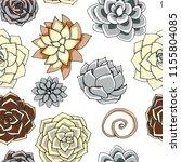 succulents seamless pattern.... | Shutterstock . vector #1155804085