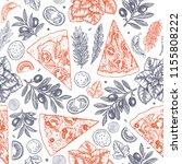 tasty food background. linear... | Shutterstock .eps vector #1155808222