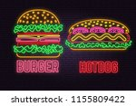 retro neon burger and hotdog... | Shutterstock .eps vector #1155809422