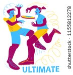 ultimate players. boy and girl... | Shutterstock .eps vector #1155812278