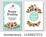 botanic card with roses ... | Shutterstock .eps vector #1155827272