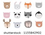Stock vector vector animals faces collection doodle illustration friendship day valentine s anniversary 1155842902