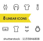 wear icons set with bag ...