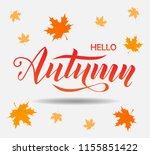 hello autumn lettering text on... | Shutterstock .eps vector #1155851422