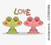 cute couple of frogs in love | Shutterstock .eps vector #115585486