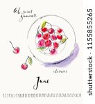 june calendar with ink... | Shutterstock .eps vector #1155855265