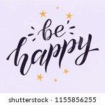 be happy black lettering on... | Shutterstock .eps vector #1155856255