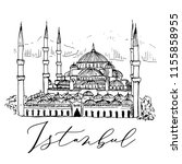 sultan ahmed mosque blue mosque ... | Shutterstock .eps vector #1155858955