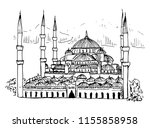 sultan ahmed mosque blue mosque ... | Shutterstock .eps vector #1155858958