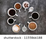 cups of fresh aromatic coffee...   Shutterstock . vector #1155866188
