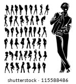a lot of vector silhouettes of... | Shutterstock .eps vector #115588486