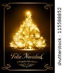 warmly sparkling christmas tree ... | Shutterstock .eps vector #115588852