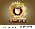 gold emblem or badge with cat... | Shutterstock .eps vector #1155898372