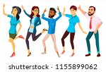 Stock vector dancing people set vector funny and friendly joyful emotions isolated flat cartoon illustration 1155899062