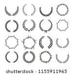 vector laurel wreaths on  white ...   Shutterstock .eps vector #1155911965
