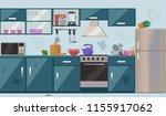 dirty messy kitchen vector... | Shutterstock .eps vector #1155917062