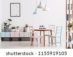 real photo of a pastel dining... | Shutterstock . vector #1155919105