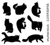 Stock vector vector set of cat silhouettes different postures sitting lying resting playing hunting 1155930958