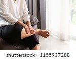 leg cramp  senior woman... | Shutterstock . vector #1155937288