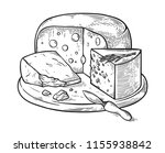 cheese hand drawn set engraving.... | Shutterstock .eps vector #1155938842