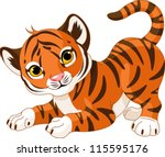 Stock vector illustration of playful tiger cub 115595176