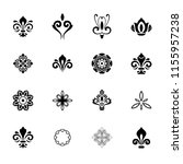 vintage set of black and white... | Shutterstock . vector #1155957238