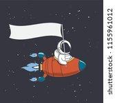 astronaut in flying rocket... | Shutterstock .eps vector #1155961012