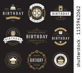 happy birthday badges and... | Shutterstock .eps vector #1155962062