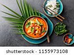 thai shrimps red curry.... | Shutterstock . vector #1155973108