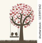 love tree with two birds ... | Shutterstock .eps vector #115597342