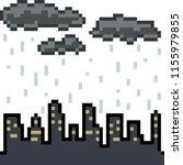 vector pixel art city cloudy... | Shutterstock .eps vector #1155979855