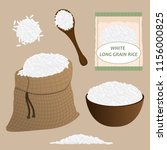 white rice vector set. rice... | Shutterstock .eps vector #1156000825