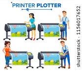 workers with plotter set vector.... | Shutterstock .eps vector #1156017652