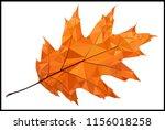 A single orange autumn leaf low poly