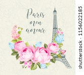 eiffel tower simbol with spring ... | Shutterstock .eps vector #1156022185
