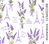 fabric pattern with lavender... | Shutterstock .eps vector #1156022188