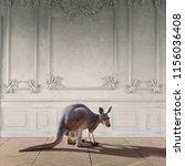 kangaroo in the room interior....   Shutterstock . vector #1156036408