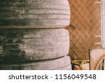 old car tires pile with copy... | Shutterstock . vector #1156049548