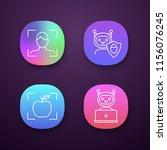 machine learning app icons set. ...
