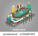 mobile poker concept. isometric ... | Shutterstock . vector #1156087495