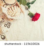 vintage background with rose... | Shutterstock . vector #115610026