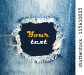 Blue Torn Denim Jeans Texture...