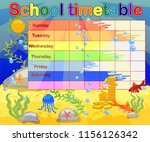 school timetable with marine... | Shutterstock .eps vector #1156126342