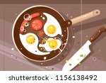 fry delicious scrambled eggs... | Shutterstock .eps vector #1156138492