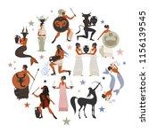 zodiac signs style mythology of ... | Shutterstock .eps vector #1156139545