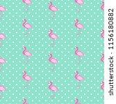 cute seamless flamingo pattern  ... | Shutterstock . vector #1156180882
