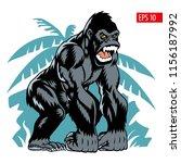 gorilla on a jungle background  ... | Shutterstock .eps vector #1156187992